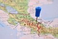 Pin in map of costa rica blue Stock Photo