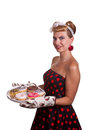 Pin up girl with cakes on a white background Royalty Free Stock Images