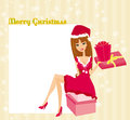 Pin up girl in christmas inspired costume beautiful Royalty Free Stock Photography