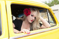 Pin Up Girl and Classic Car Royalty Free Stock Photography