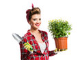 Pin-up girl holding flower pot with yellow daisies and shovel Royalty Free Stock Photo