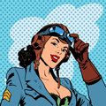 Pin up girl pilot aviation army beauty pop art retro comic vintage Royalty Free Stock Photo