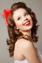 Pin up girl professional make hair and style Royalty Free Stock Photography