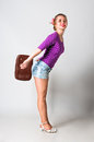 Pin up girl standing and smiling Royalty Free Stock Photo