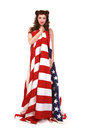 Pin Up Girl in Studio With American Flag Stock Image