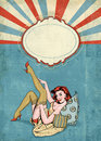 Pin up illustration of woman with the place for text.Pin up girl. Party invitation. Birthday greeting card.