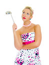 Pin-up portrait of woman with ladle. Royalty Free Stock Photos