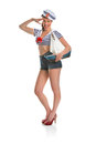 Pin up sailor girl sexy woman posing as a Royalty Free Stock Photography
