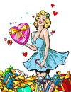 Pin up woman with gifts blond girl character happy