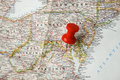 Pin on washington dc map of with red push Royalty Free Stock Photo