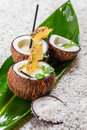 Pinacolada drink with mint served in a fresh coconut Stock Image