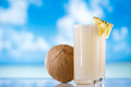 Pinacolada pina colada cocktail on beach coconut sea ocean Stock Photo