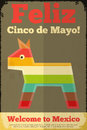 Pinata mexican poster in retro style cinco de mayo illustration Stock Photos