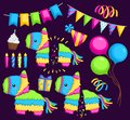 Pinata and party stuff Royalty Free Stock Photo