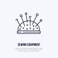 Pincushion flat line icon. Vector sign for sewing studio, tailor store