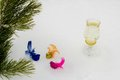 Pine branch with decorative multi coloured birds and a champagne glass against white snow it can be used as a christmas card Royalty Free Stock Photos