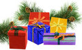 Pine branches with colorful boxes Royalty Free Stock Photography