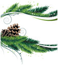 Pine branches and cones christmas wreath with abstract winter background Stock Photos