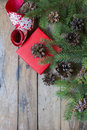 Pine branches cones and gift and ribbon christmas concept Royalty Free Stock Photo