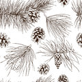 Pine branches seamless pattern fir christmas tree cedar spruce and cones vector illustration Stock Photo