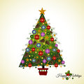 Pine christmas tree with branches baubles pinecones and stars Stock Photos
