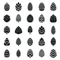 Pine cone icons set, simple style Royalty Free Stock Photo