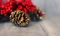 Pine cone photo of xmas decoration golden Stock Photo