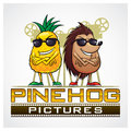 Pine hog pictures pineapple and hedgehog for film mascot Stock Image