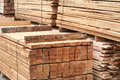 Pine limber limber cut in boards and trim for sale wooden material closeup in lumberyard Stock Photo