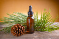 Pine oil bottle of essential on wooden board Royalty Free Stock Photography