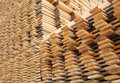 Pine timber planks drying stacked for at a yard Royalty Free Stock Photos