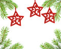 Pine tree branch and christmas stars Royalty Free Stock Image
