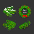 Pine tree branches for Christmas and New Year decorations 4 icons set composition banner. Christmas wreath with red bow.