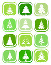 Pine tree icons Royalty Free Stock Photos