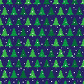 Pine trees seamless pattern made of illustrated and snow on dark blue background Stock Images