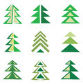 Pine trees set of symbols Stock Images