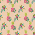 Pineappel Spring-Fruit Delight. Seamless Repeat Pattern illustration.Background in pink,orange,green,white and cream.