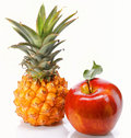 Pineapple with apple Royalty Free Stock Photo