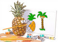 Pineapple - artistic painter Royalty Free Stock Images