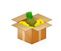 Pineapple and bananas in cardboard box Stock Photography