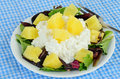 Pineapple chunks cottage cheese bed lettuce Stock Photo