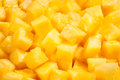 Pineapple chunks macro closeup detail Stock Photo