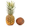 Pineapple coconut isolated close up white background Stock Photography