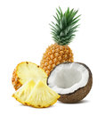 Pineapple coconut pieces composition 4 isolated on white backgro Royalty Free Stock Photo