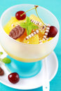 Pineapple dessert with cherry Stock Image