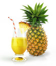 Pineapple and drink glass with a fruit chunk and straw condensation droplets at white background Stock Images