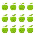 Kawaii green apple. Cute emoticon face on a white background. Emoticon icon.