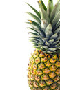 Pineapple fruit isolated, half side closeup Royalty Free Stock Photo