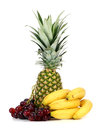 Pineapple grapes and bananas Royalty Free Stock Photo