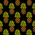 Pineapple green and brown dark seamless vector pattern.